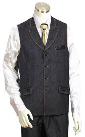 Black 2pc Denim Vest Sets Leisure Casual Suit For Sale