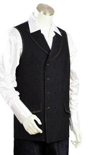 Mens 2pc Denim Vest Sets - Black Leisure Baggy - Wide Leg
