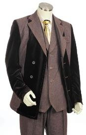 Mens Double Breasted Fashion Denim Cotton Fabric Trimmed Two Tone Blazer/Suit/Tuxedo Black With Brown
