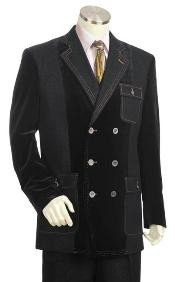 Mens Double Breasted Fashion Denim Cotton Fabric Trimmed Two Tone Blazer/Suit/Tuxedo Black