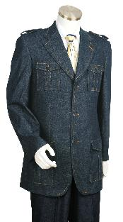 Mens Stylish Blue Fashion Zoot Denim Fabric Suit