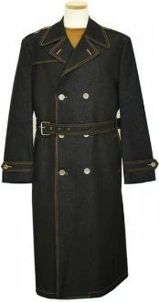 Mens Iridescent Denim Winter Peacoat double breasted Long Trench Coat Black