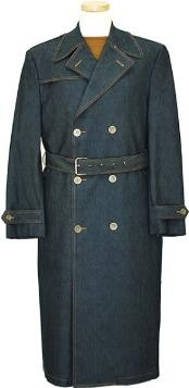 Mens Navy Blue Denim Long Style Winter Peacoat double breasted Long