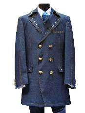 3 PC 6 on 3 Brass Button Denim three piece suit Dark