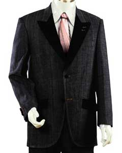 Two Buttons Style Comes In Black Two Toned Trimmed Two Tone Blazer/Suit/Tuxedo Denim Cotton Peak Lapel Velvet