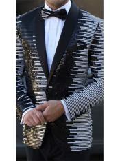 Mens Striped Designed Black Shawl Lapel White~Black tuxedo dinner jacket