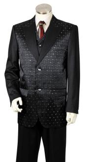 Diamond Pattern 3pc Zoot Suit Black