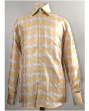 Mustard High Collar Diamond Pattern Shiny Shirt Night Club Outfit guys