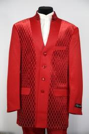 Diamond Pattern Flap Two Pocket Red Mandarin Banded No Collar Suit