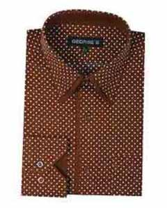 Classic Fit Mini Polka Dot Design Standard Cuff Dress Shirt Brown