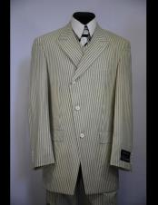 Mens double Breasted Wide Peak Lapel stripe zoot suit Stripe ~ Pinstripe Tan ~ Beige