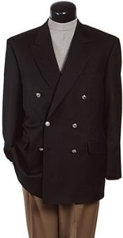 APD183 Z762TA Black Six Button Double Breasted Performance Blazer Jacket Coat
