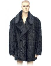 Fur Double Breasted Black Pieces Mink 3/4 Coat Genuine Mink Jacket