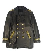 - Studded Black Double-Breasted Leather Jacket