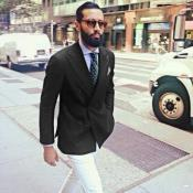 Double Breasted Black Linen Blazer & Sport Coat