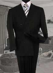 Double Breasted Black with White Stripe ~ Pinstripe Suit With Side