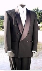 $1800 Mens Shawl Collar Italian Fabric Design Satin Button Double Breasted Tuxedo Black Advanced Pre Order To