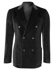 6 Buttons Velvet Double Breasted Black Blazer Sport Coat - Jacket