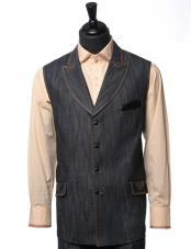 Mens Double Breasted Black Denim Vegan Leather Detail 2Pc Vest Casual Two
