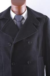 Black Double Breasted Wool Winter Dress Coat