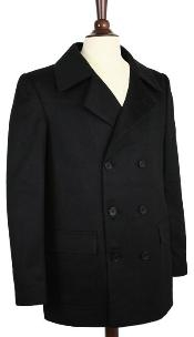 Wool peacoat Wool Blend Double Breasted Broad Lapels Side Pocket in