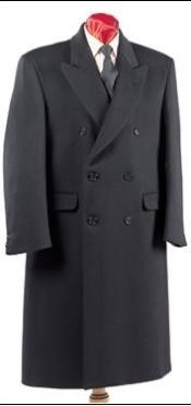 Six Button Black Notch Lapel Fully Lined Mens Overcoat Long Coat