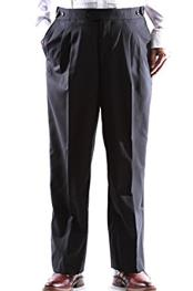 Super 140s Black Stretch Wool Tuxedo Pants unhemmed unfinished bottom