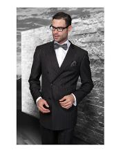 Confidence Black Double Breasted Pinstripe Mens Wool Italian Design Suit
