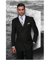 Confidence Mens Black Double Breasted Wool Italian Design Suit