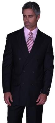 SOILD BLACK DOUBLE BREASTED SUPER 150S WOOL SUIT HAND MADE