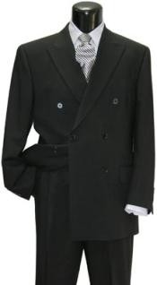 Brand New Solid Black Double Breasted Suit 100% Wool Fabric Super 150s