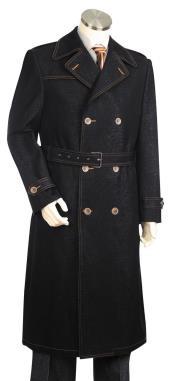 Mens Denim Long Coat - Denim Fabric Trench Coat