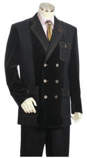 Double Breasted Suit Stitch Accent Suit Black