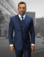 Statement Suits Clothing Confidence Plaid 2 Button Blue Windowpane Vested Fine Brands Best Italian Style Cut Suits