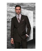 Confidence Brown Double Breasted Mens Wool Italian Design Suit