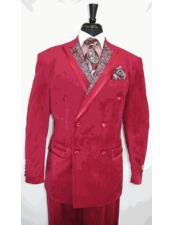 Paisley Mens Double Breasted Suits Jacket Burgundy ~ Wine ~ Maroon