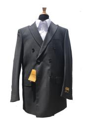 Authentic Mens Wool Pick Stitched Lapel Double Breasted Blazer Sport Coat Jacket Charcoal