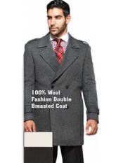 Mens Charcoal Crowsfeet Fashionable 100% Wool Double Breasted Coat