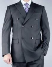 Mens Peak Lapel Charcoal Double Breasted 100% Wool Double Vent Suit