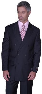 SOILD CHARCOAL DOUBLE BREASTED WOOL SUIT HAND MADE