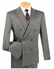 Double Breasted Shadow Mini Stripe Conservative Pattern Slim Fit Charcoal Suit