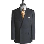 Brand New Charcoal Super Wool Feel PolyRayon Double Breasted Suit - Color: