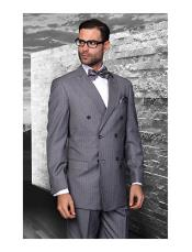 Confidence Charcoal Grey Double Breasted Pinstripe Mens Wool Italian Design Suit