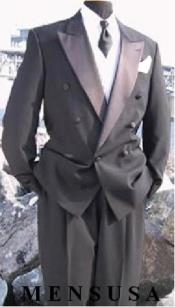 Mens Double Breasted Tuxedo Suit(Jacket & Pants) wool fabric in Charcoal Grey ~ Gray Delivery 10 Days