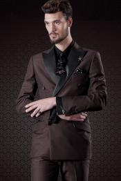 Chocolate Brown Slim Fit Double Breasted Satin Peak Lapel Formal Tuxedo