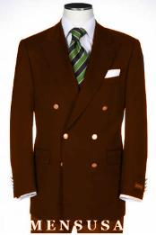 Double Breasted Suits Jacket Blazer Wool Feel Poly~Rayon With Best Cut & Fabric Sport Brown jacket