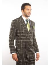 Double Breasted Suits Jacket Black Plaid ~ Windowpane 100% Wool Suit Can Be Blazer Or Sport Coat