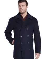 Dress Coat Dark Navy Double Breasted Peak Lapel Overcoat