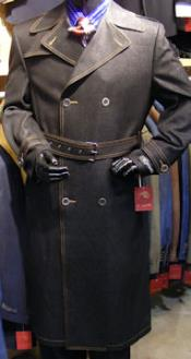 Mens Dress Coat Double Breasted Denim Maxi Coat with a Belt Black