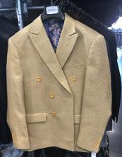 Mens Double breasted blazer sport coat jacket Gold ~ Mustard ~ Camel